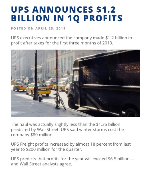 UPS announcement About money | BrownCafe - UPSers talking