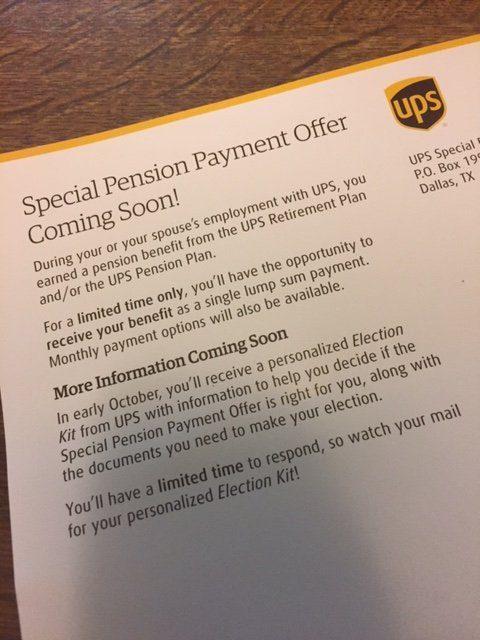 UPS Special Pension Buyout Offer - December 2016 | BrownCafe