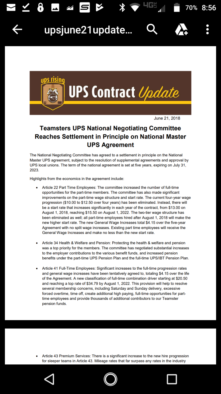 Tentative Agreement Page 22 Browncafe Upsers Talking About Ups